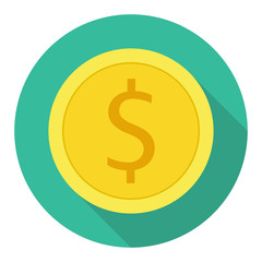 Money currency icon. Coin with Dollar sign vector illustration.