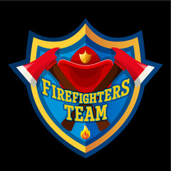 Firefighter emblem label badge and logo on white background