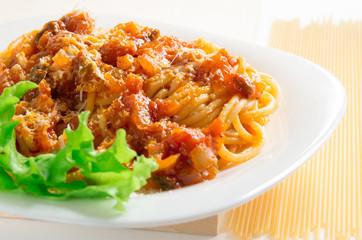 Selective focus on the Italian cooked spaghetti