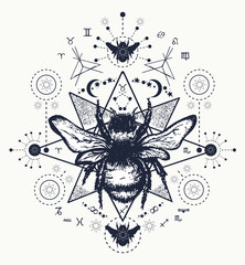 Bee tattoo art. Hand drawn sketch of bumblebee. Bee tattoo sketc