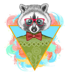 Raccoon hipster fashion animal illustration