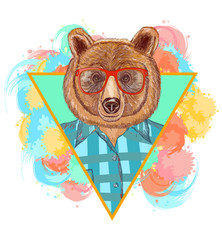 Bear hipster fashion animal illustration