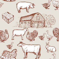 Farm animals seamless pattern, cows, geese, chickens