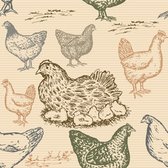 Hand drawn chicken farm seamless pattern in vintage style