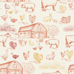 Farm animals seamless pattern, cows, geese, chickens, pigs