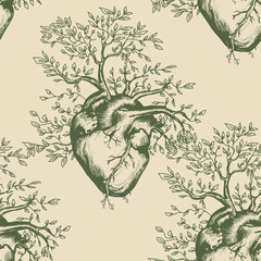 Anatomical human heart seamless pattern