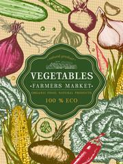 Vegetable vintage poster. Fresh vegetables template