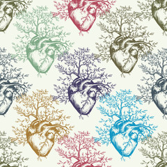 Anatomical human heart art seamless pattern