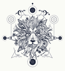 Ornamental Tattoo Lion Head. Mystic Lion sketch tattoo art