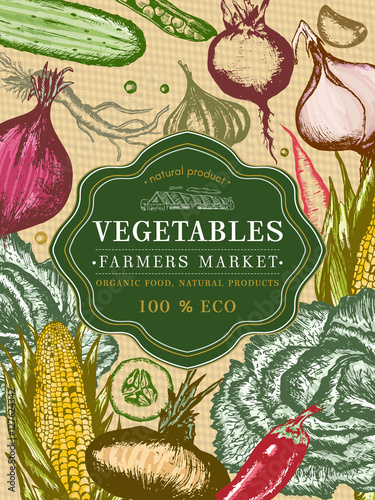 vegetable vintage poster fresh vegetables template stock image and