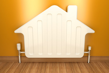 Heater radiator on yellow wall in house. 3d image