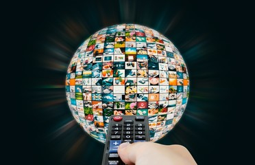 Television broadcast multimedia sphere globe abstract compositio