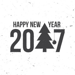 Merry Christmas and Happy New Year 2017 typography.