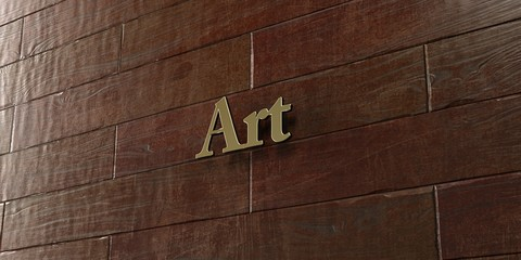 Art - Bronze plaque mounted on maple wood wall  - 3D rendered royalty free stock picture. This image can be used for an online website banner ad or a print postcard.