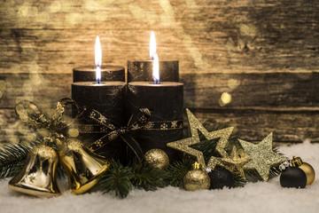 Weihnachten Karte Gold Schwarz