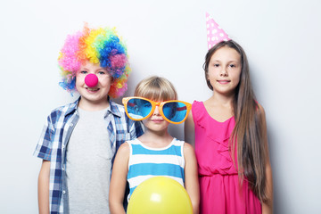 Portrait of childrens on grey background