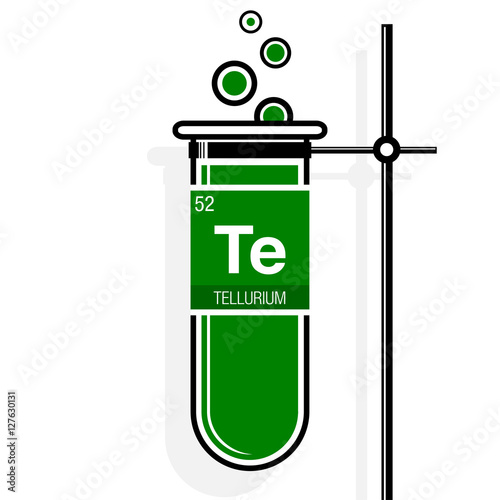 Tellurium Symbol On Label In A Green Test Tube With Holder Element