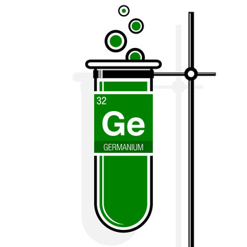 Germanium symbol on label in a green test tube with holder. Element number 32 of the Periodic Table of the Elements - Chemistry