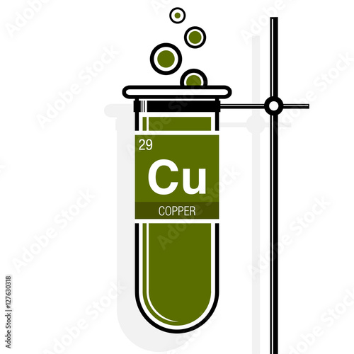 Copper Symbol On Label In A Green Test Tube With Holder Element