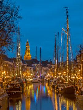 Old sailing ship in Groningen centre