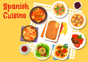 Spanish seafood and meat dishes icon