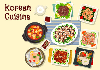 Korean cuisine traditional bbq dishes icon