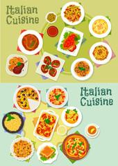 Italian cuisine pasta and pizza dishes icon