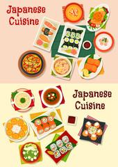 Japanese cuisine seafood sushi icon set