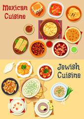 Mexican and jewish cuisine dinner icon