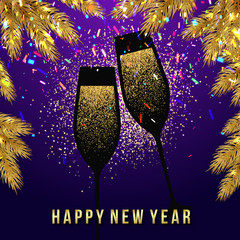 Happy New Year Card with glasses of champagne. Vector illustration eps 10 format