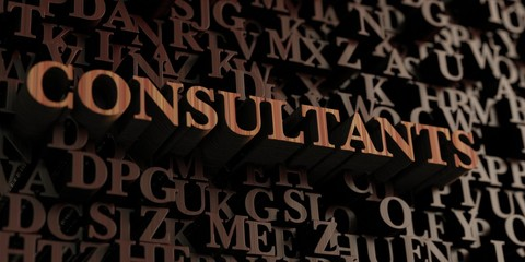 Consultants - Wooden 3D rendered letters/message.  Can be used for an online banner ad or a print postcard.