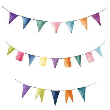 Watercolor bright color set with flags garlands. Party, kids party or wedding decor elements isolated on white background. For design, prints or background