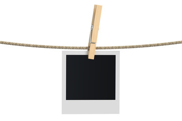 Blank photo frame hanging on a rope, 3D rendering