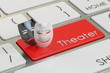 Theatre concept. Tragicomic theater masks on red keyboard button