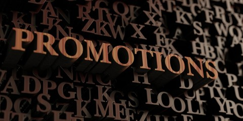Promotions - Wooden 3D rendered letters/message.  Can be used for an online banner ad or a print postcard.