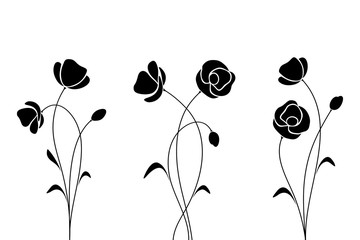 Vector black silhouette of flowers isolated on a white background.