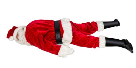 classic red white Santa Claus with burnout stress syndrom lying on the floor christmas xmas isolated on white background