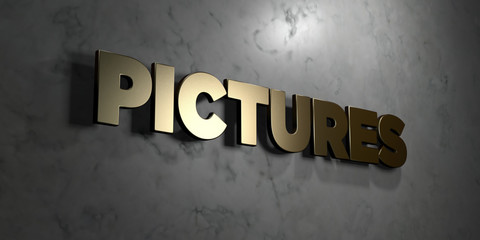 Pictures - Gold sign mounted on glossy marble wall  - 3D rendered royalty free stock illustration. This image can be used for an online website banner ad or a print postcard.