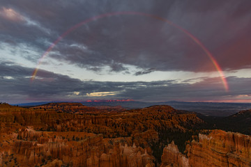 Sunset Rainbow at Sunset Point - Full rainbow over Bryce Canyon as seen from Sunset Point, Bruce Canyon National Park, Utah