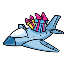 Airplane gifts cartoon illustration isolated image