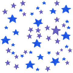 Blue watercolor stars background. Watercolor illustration for greeting card, sticker, poster, banner. Isolated stars on white background.