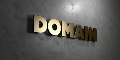 Domain - Gold sign mounted on glossy marble wall  - 3D rendered royalty free stock illustration. This image can be used for an online website banner ad or a print postcard.