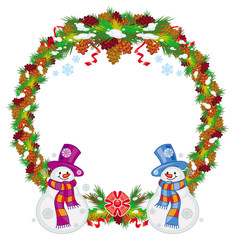 Round Christmas garland with happy snowman in funny hat and scarf.