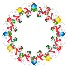 Round Christmas garland with happy snowman. Christmas design element.