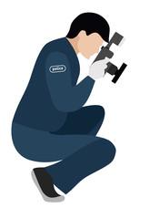 Flat illustration. Murder investigation. Forensic scientist on a white background