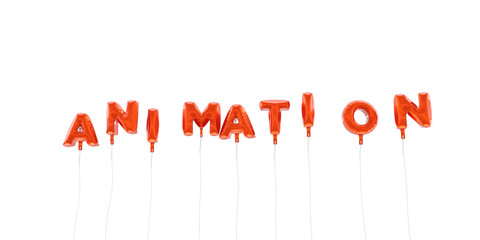 ANIMATION - word made from red foil balloons - 3D rendered.  Can be used for an online banner ad or a print postcard.