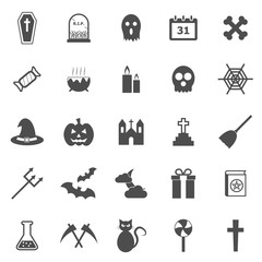 Halloween icons on white background
