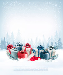 Holiday Christmas background with a gift boxes and Santa hat. Ve