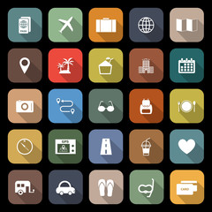 Trip flat icons with long shadow