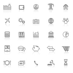 Economy line icons with reflect on white background